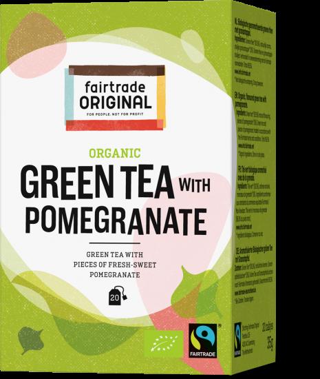 Thee Groene thee met granaatappel Bio 20x1.75g Max Havelaar - China en Sri Lanka