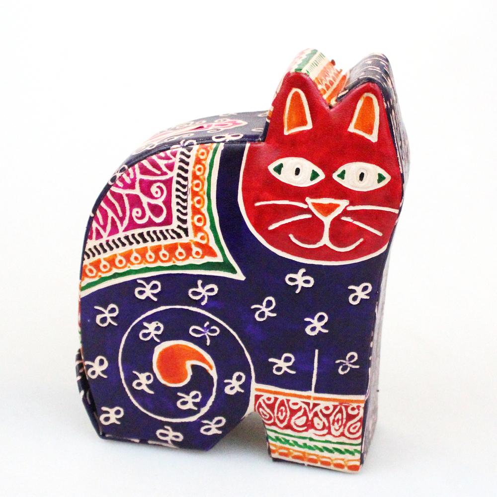 Spaarpot Kat leer 14cm - India