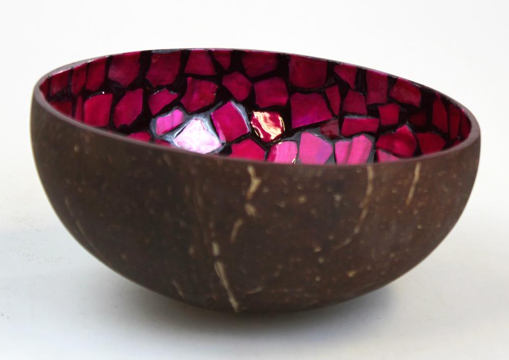 Schaaltje kokosnoot mozaiek 13x5cm fuchsia - Vietnam