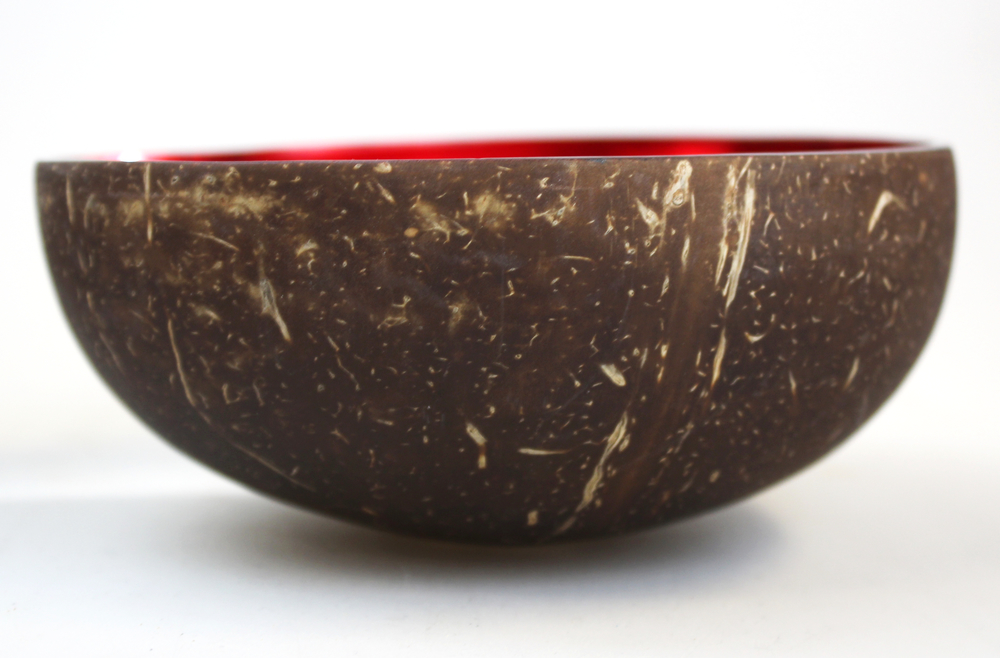 Schaaltje kokosnoot lak rood 13x5,5cm - Vietnam