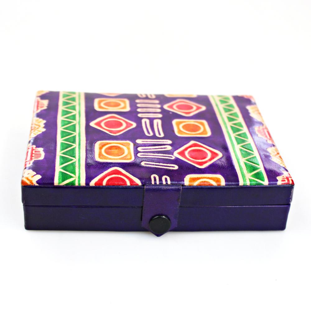 Doos met 2 Kaartspelen leer - India