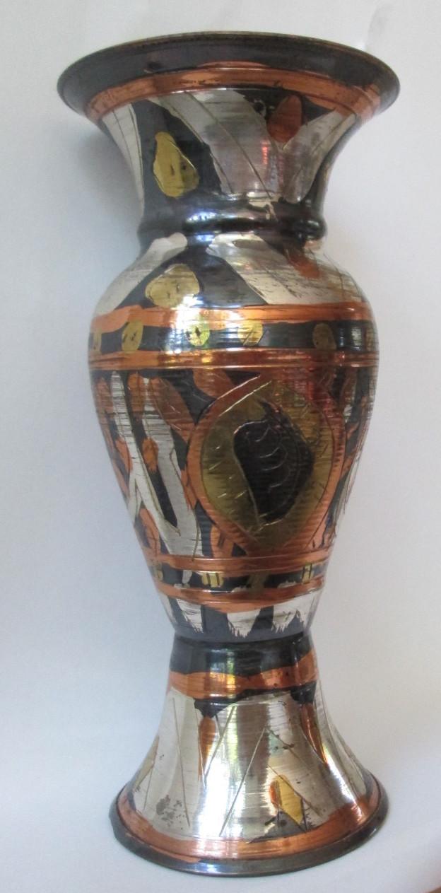 Vaas rond, h 15cm, diam. voet 6 cm, buik + boven 7 cm - Egypte