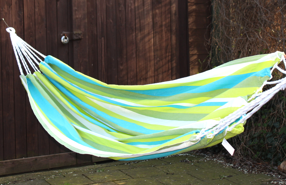 Hangmat groen wit blauw gestreept 130x215cm - El Salvador
