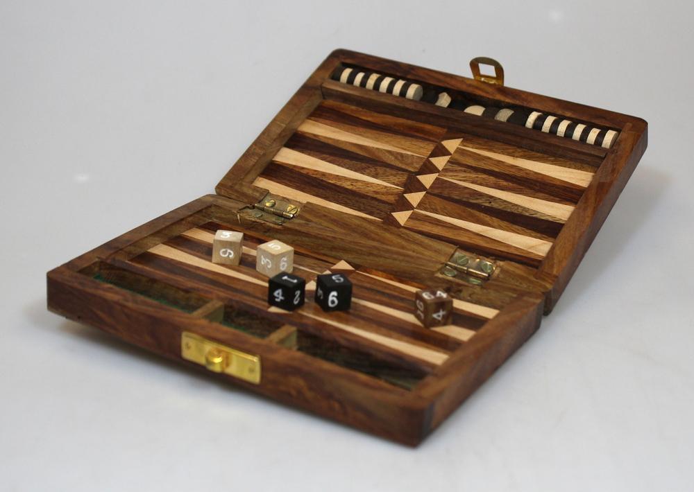 Spel Backgammon in doos 15x10cm - India