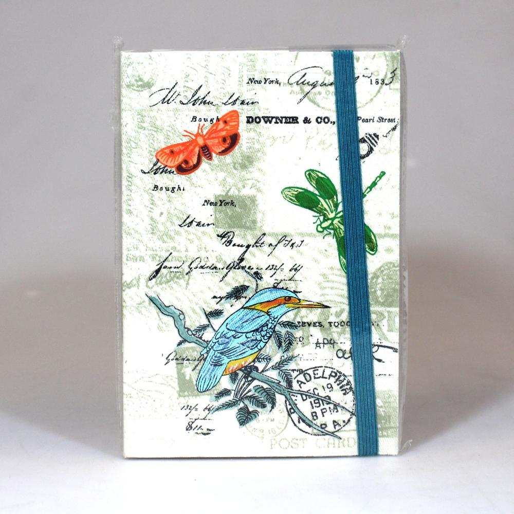 Notitieboek 10x15cm vogel vlinder Only Natural - India