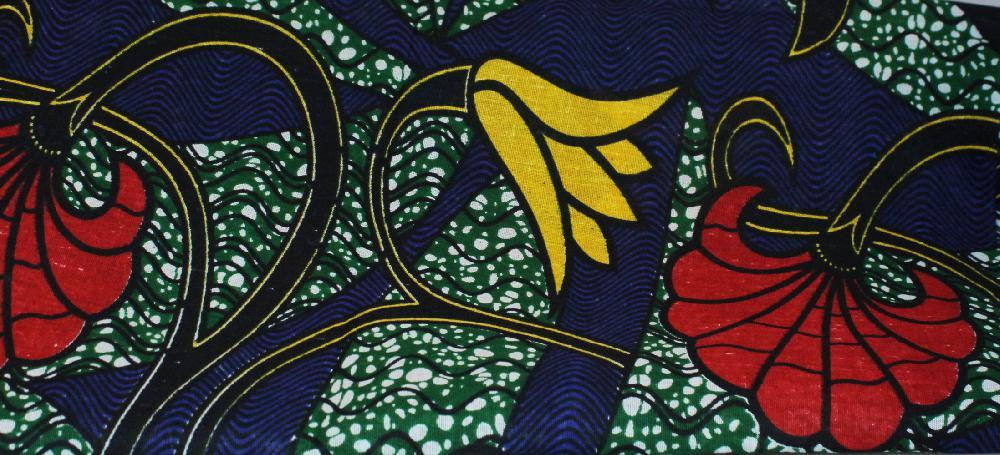 Doek / Stof Bloemen, groot Geel en Rood, l x br = 330 x 104 cm, BrGH8424 - Tanzania