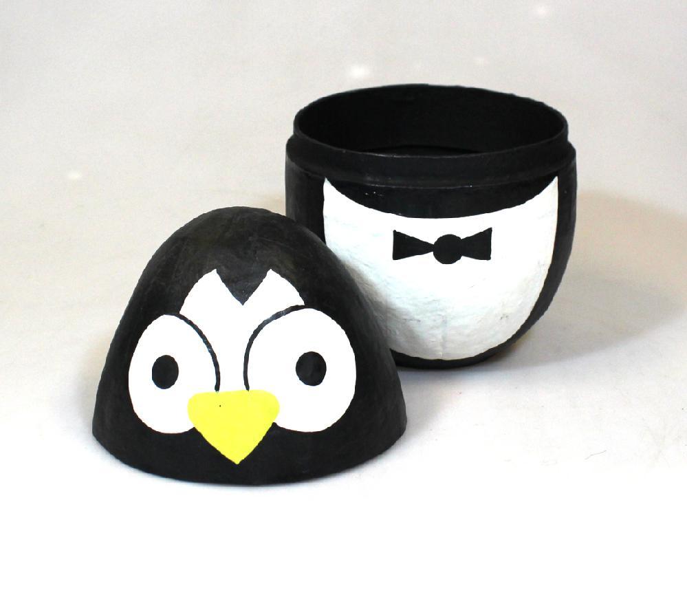 Doos Pinguin H 14cm papiermachee - India