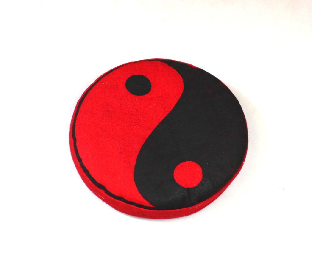 Klankschaal-kussen, rond D 12 cm yin yang - Nepal