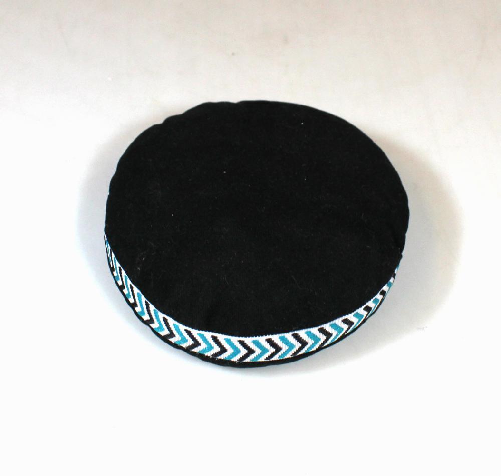 Klankschaal-kussen, rond D 11 cm, zwart met band - Nepal