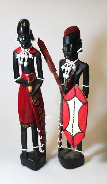 Beeld Masai-Maasai, Paar: Man en Vrouw, mpingo-ebbenhout, D 7 cm, H 30 cm, BrGH - Tanzania