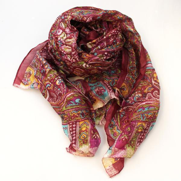 Sjaal - Shawl Zijde 53x180cm + motief/overlopende kleuren Taruna - India