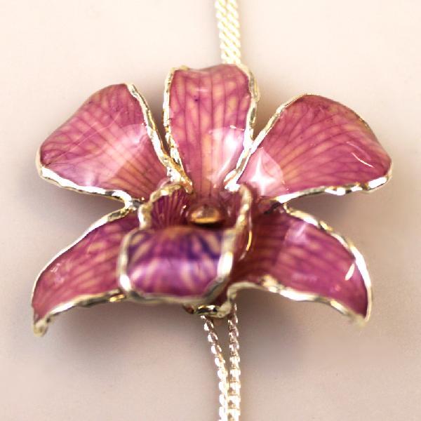Ketting Orchidee verstelbaar verzilverd - Thailand