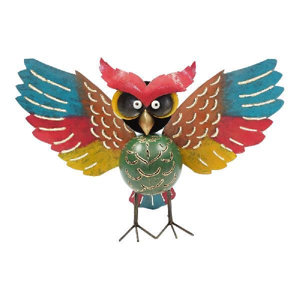 Waxinehouder Uil gespreide vleugels metaal H 28cm - Indonesie