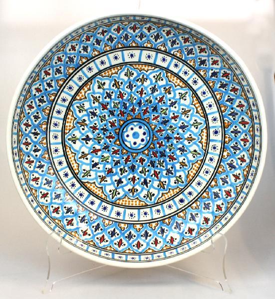 Schaal Kom diep 7,5cm D=30cm, Dina turquoise, beschilderd aardewerk TW - Tunesie