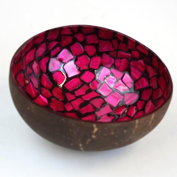 Schaaltje kokosnoot, mozaiek D 13 cm, fuchsia, hoog 5-6 cm, Kanika - Vietnam