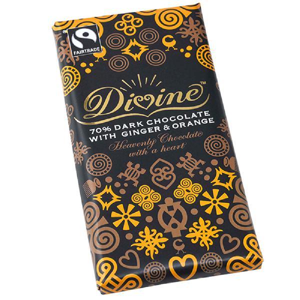 Chocolade Reep Divine puur 90g 70% cacao Gember Sinaasappel Vegan Kuapa Kokoo - Ghana + Malawi