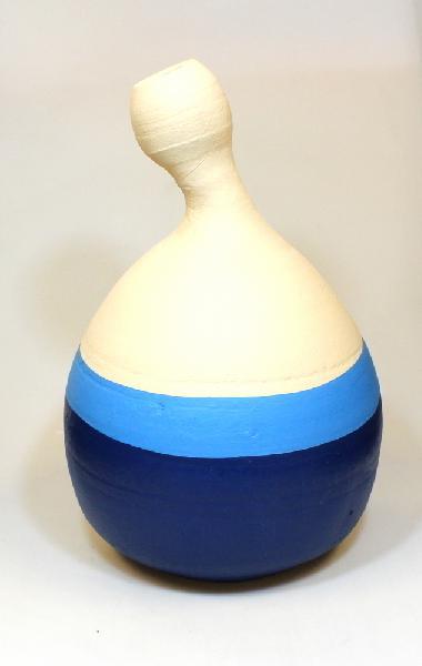 Vaas Kontoa groot, blauw beige aardewerk, H 36cm D 24cm - Ghana