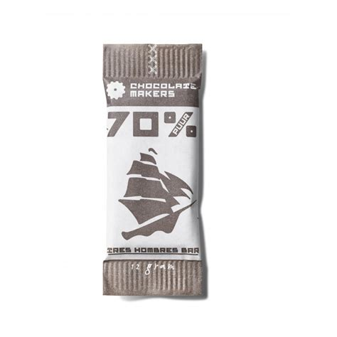 Chocolade Reep Tres Hombres mini puur 70% cacao 12g bio, Dominicaanse Republiek