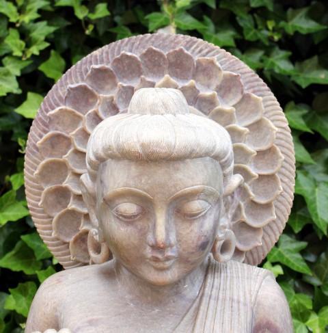 Boeddha Beeld zeepsteen 65cm 3-delig - kunst Agra, India