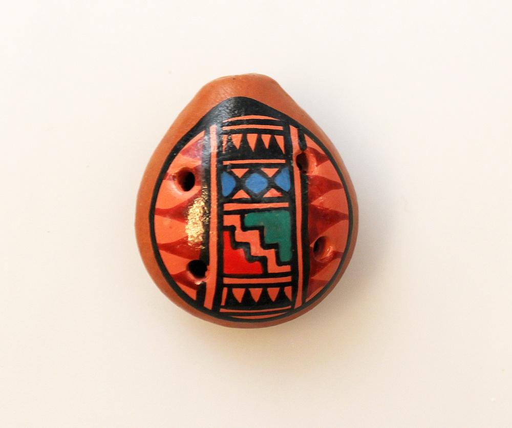 Ocarina Vogelfluitje mini plat 4cm - Peru