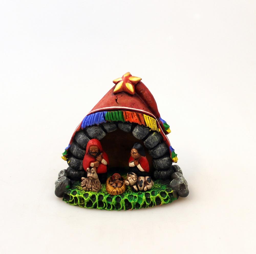 Kerstgroep Keramiek uit 1 stuk beschilderd H 7cm, BA - Peru