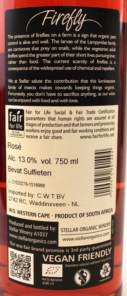 Wijn rosee Firefly Shiraz organic BIO 75cl Stellar Winery - Zuid Afrika