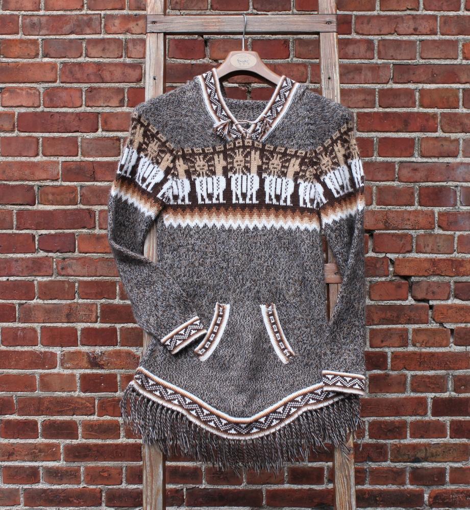 Trui alpaca wol met acryl met capuchon en franje - Peru