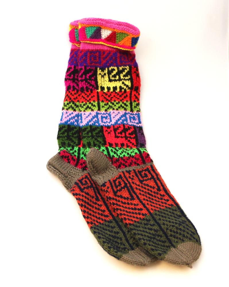 Huissokken Wol kleurig - Peru