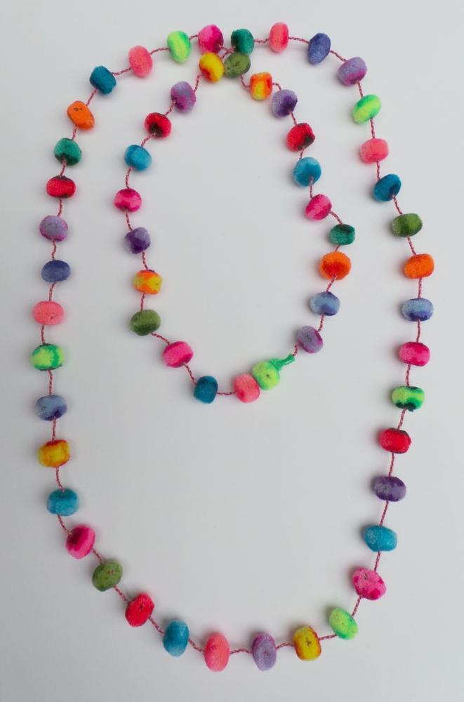 Ketting bolletjes regenboog 130cm lang - Peru