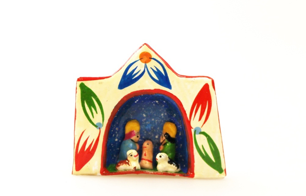 Kerstgroep in venster hanger H 3cm - Peru