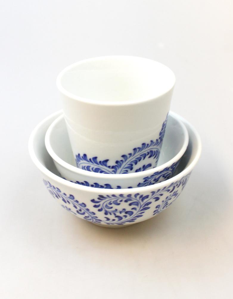 Beker blauw swirlmotief H 9cm - Vietnam