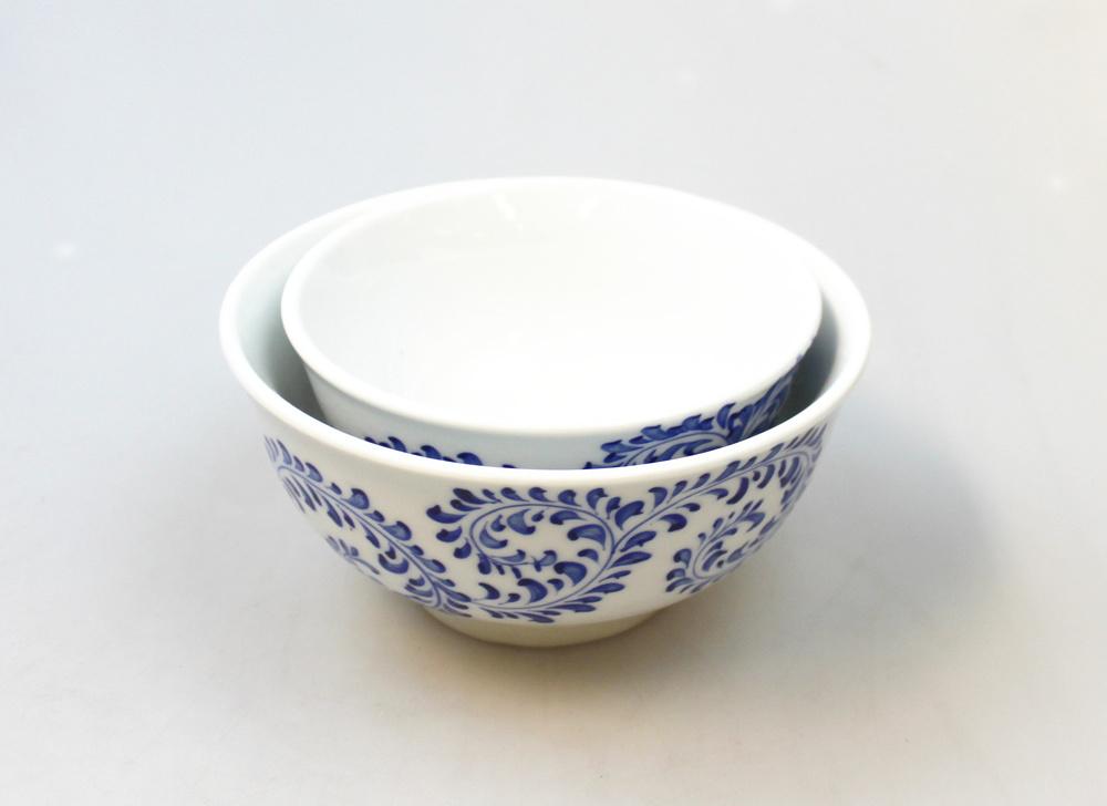 Kom blauw swirlmotief D 11cm - Vietnam