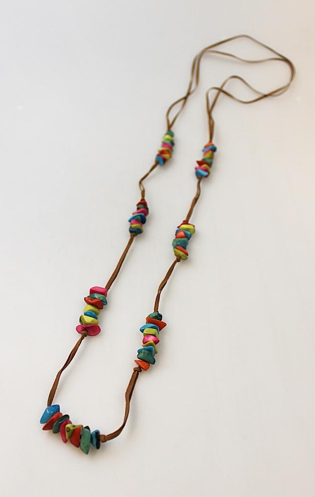 Ketting tagua kleine kralen diverse kleuren lang - Colombia