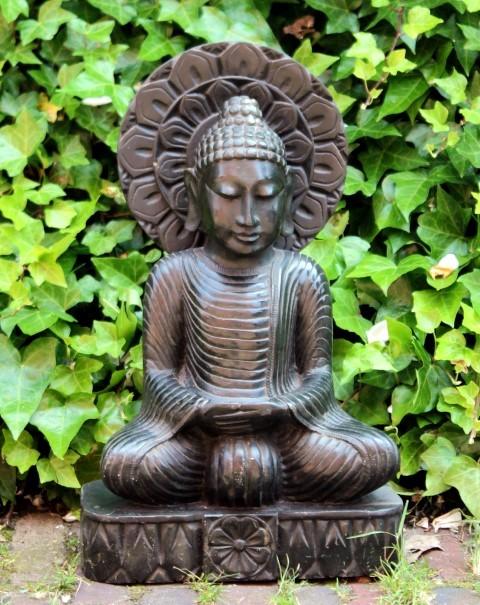 Boeddha Beeld zeepsteen 44cm Palewa zwart mediterend - kunst Agra, India