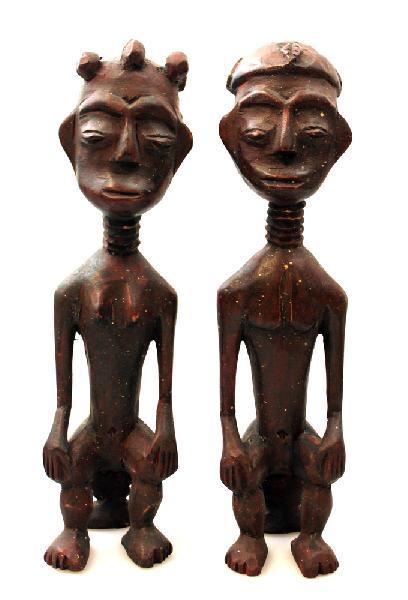 Ashanti-Paar op Stoeltje, man + vrouw, nrB1-30, 26 x 7 x 6 cm, prijs per koppel - Ghana