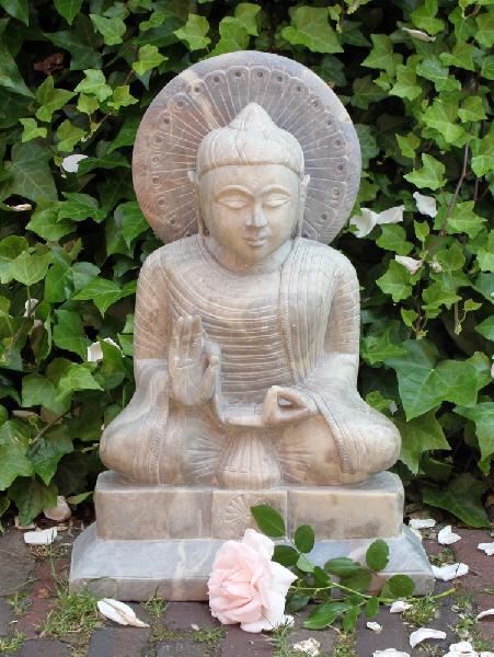 Boeddha Beeld zeepsteen 47cm onderwijzend - kunst Agra, India