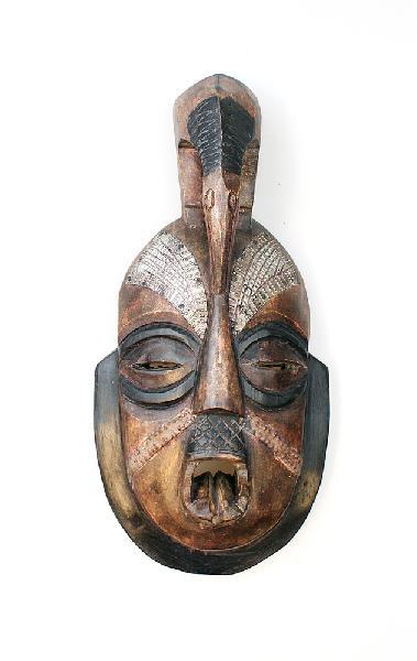 Masker Tongo hout/metaal met Raaf - Ghana