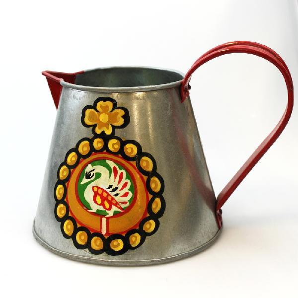 Gieter beschilderd, recycled blik, 14 cm - India