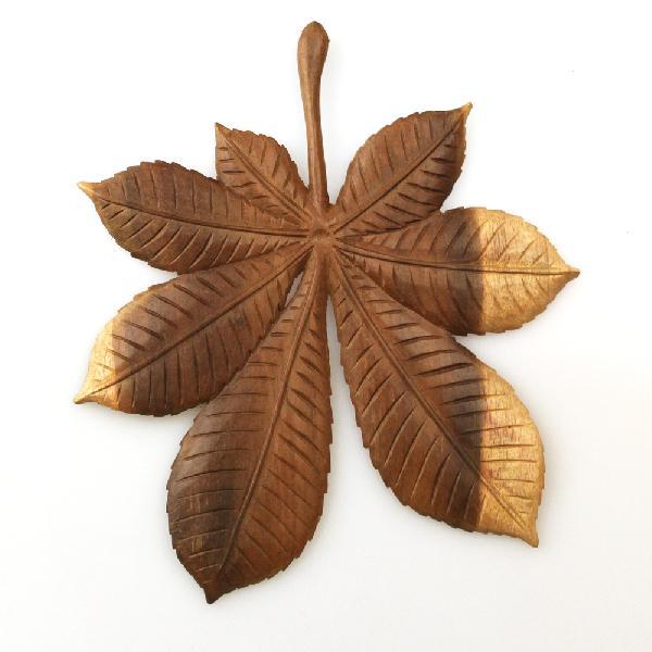 Blad Kastanje 18cm hout - Indonesie