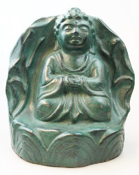 Boeddha Beeld aardewerk 25cm zittend in grot groen - Nepal
