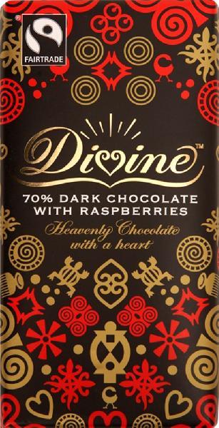 Chocolade Reep Divine puur frambozen 100g Kuapa Kokoo - Ghana + Malawi