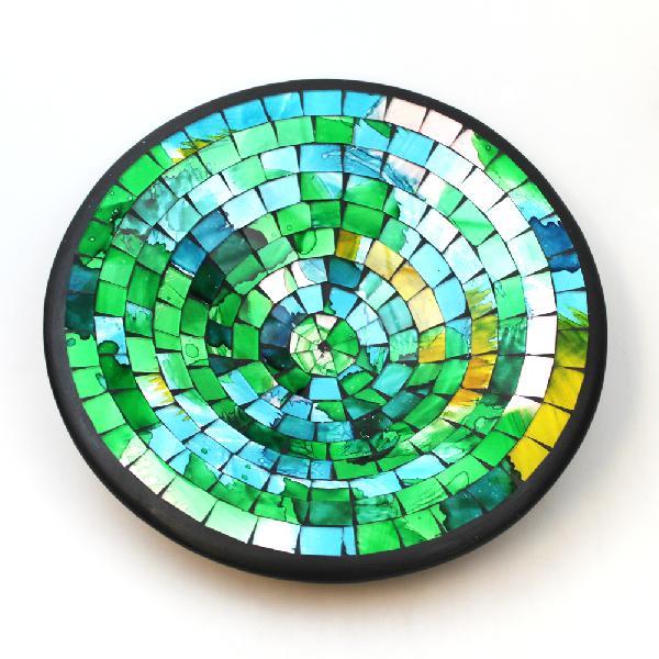 Schaal glas mozaiek groen D 25cm diep 6cm - Indonesie