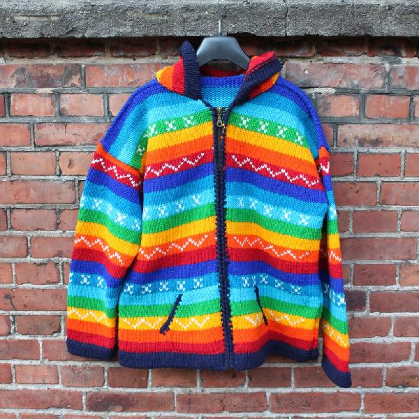 Vest regenboog katoen capuchon - Ecuador