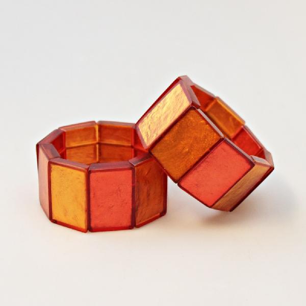 Armband Schelp rechthoeken oranje breed 3cm - Filippijnen