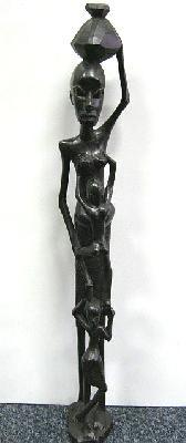 Beeld Moeder met 2 kinderen boven elkaar mpingo-ebbenhout 45cm - Tanzania