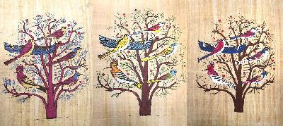 Schilderij Papyrus Boom met Vogels- Egypte
