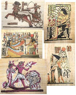 Schilderij Papyrus diverse voorstellingen - Egypte